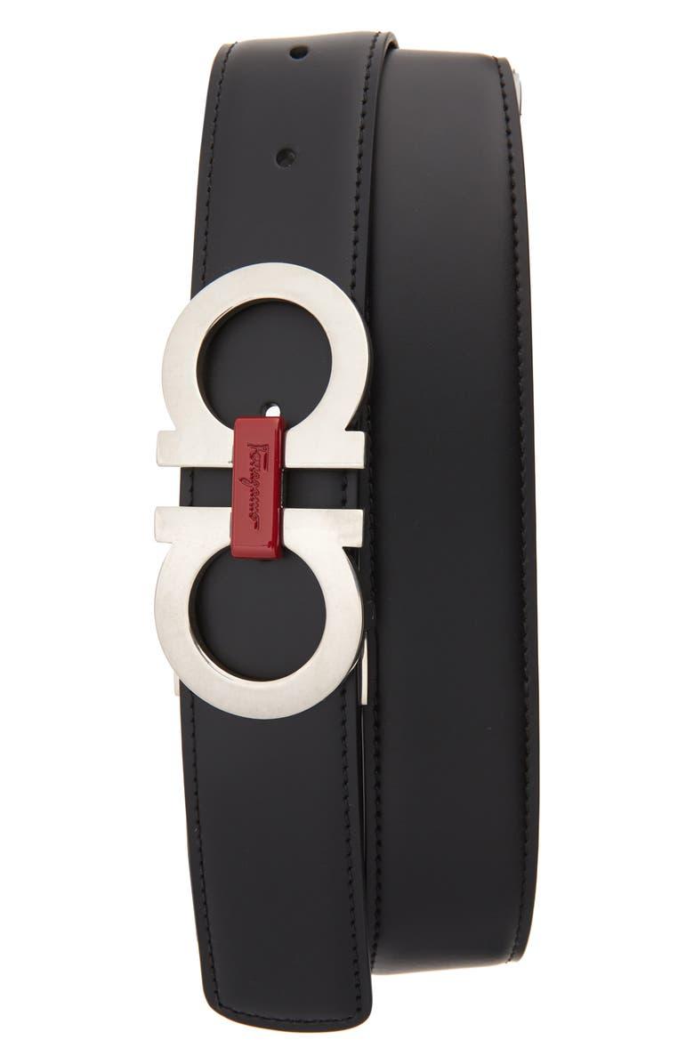 SALVATORE FERRAGAMO Reversible Leather Belt, Main, color, NERO/HICKORY