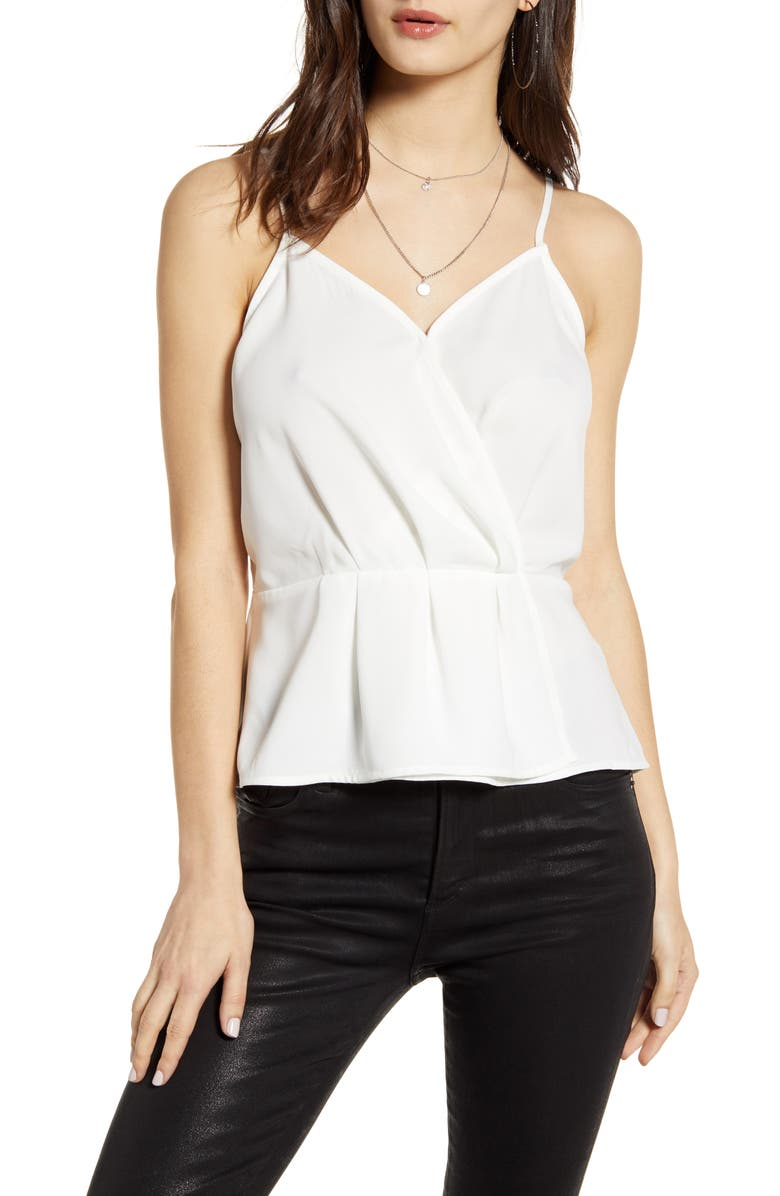 LEITH Faux Wrap Camisole, Main, color, WHITE