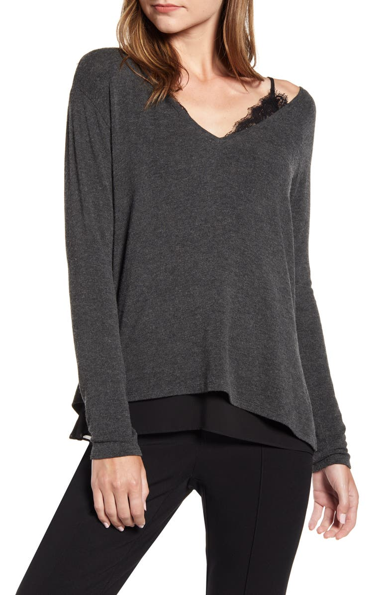 BAILEY 44 Hannah Off the Shoulder V-Neck Sweater, Main, color, 001
