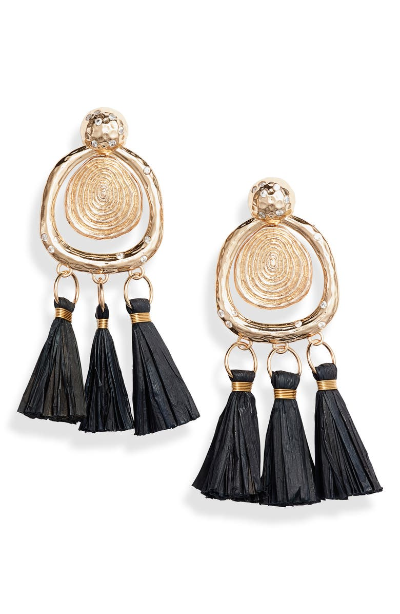 AKOLA Brianna Tassel Drop Earrings, Main, color, BLACK