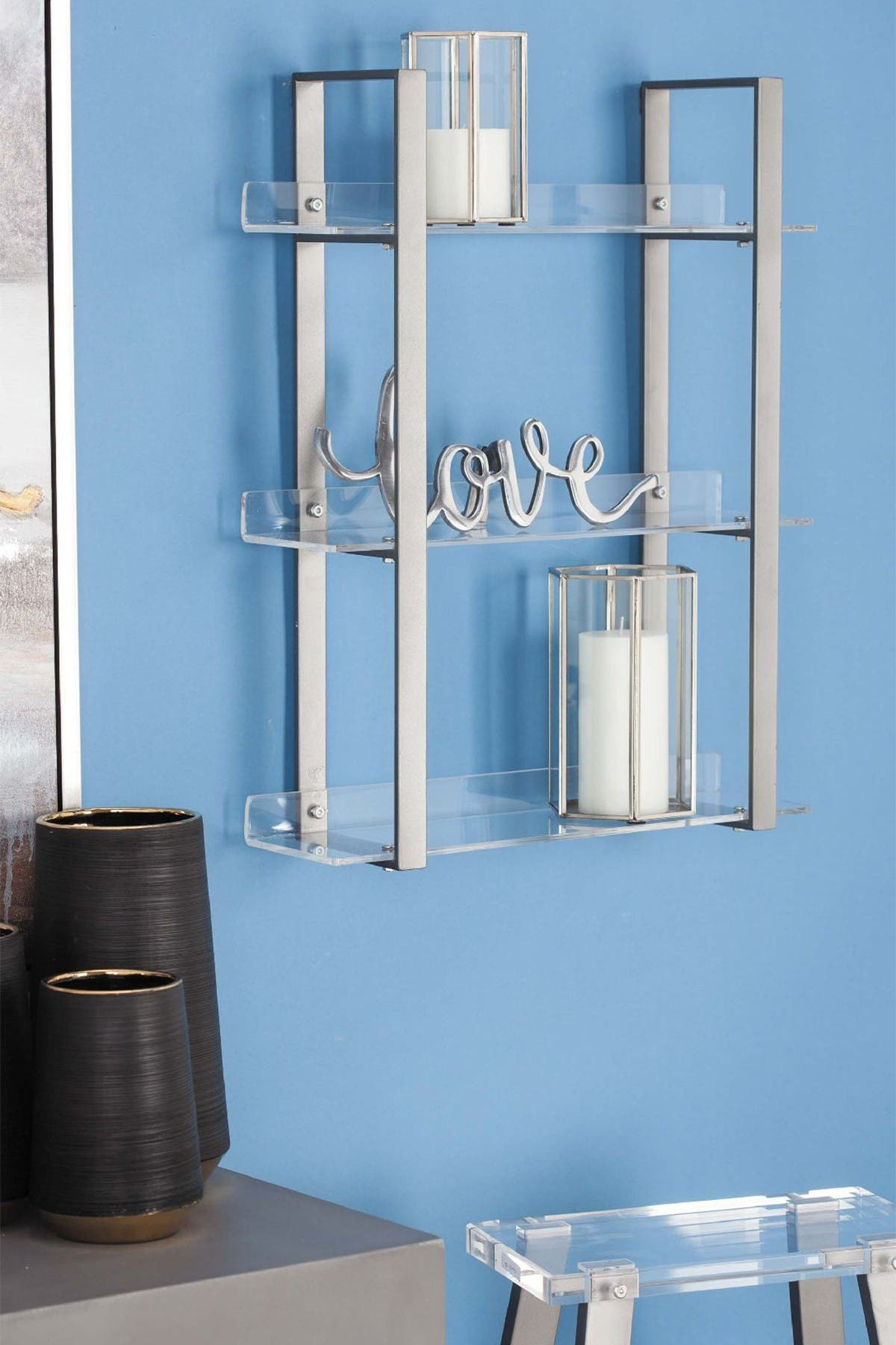Image of Willow Row Clear/Gray Contemporary 3-Tiered Shelf