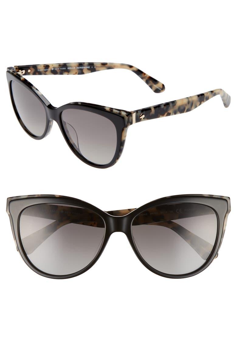 KATE SPADE NEW YORK daeshas 56mm cat eye sunglasses, Main, color, BLACK HAVANA POLAR