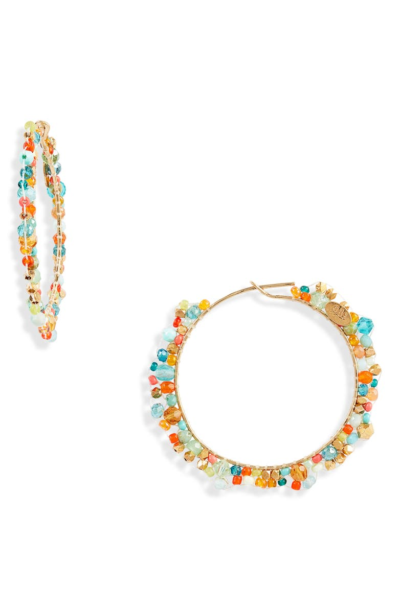 GAS BIJOUX Delarte Hoop Earrings, Main, color, BLUE/ MULTI