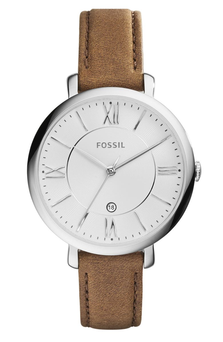 FOSSIL 'Jacqueline' Round Leather Strap Watch, 36mm, Main, color, TAN/ SILVER