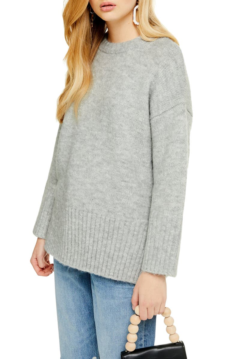 TOPSHOP Supersoft Deep Hem Crewneck Sweater, Main, color, GREY MARL