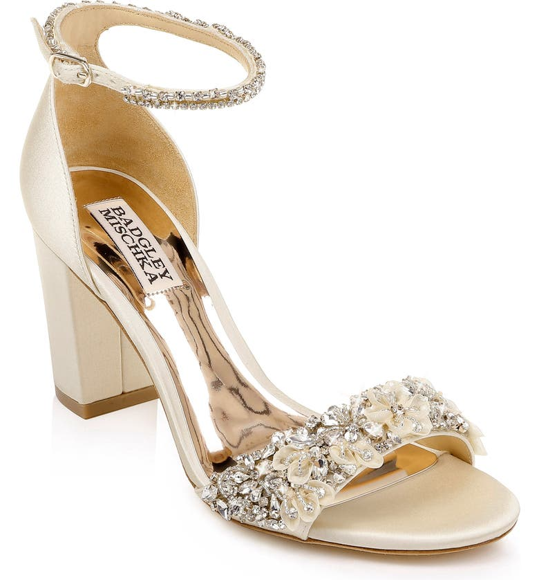 BADGLEY MISCHKA COLLECTION Badgley Mischka Finesse Ankle Strap Sandal, Main, color, IVORY SATIN