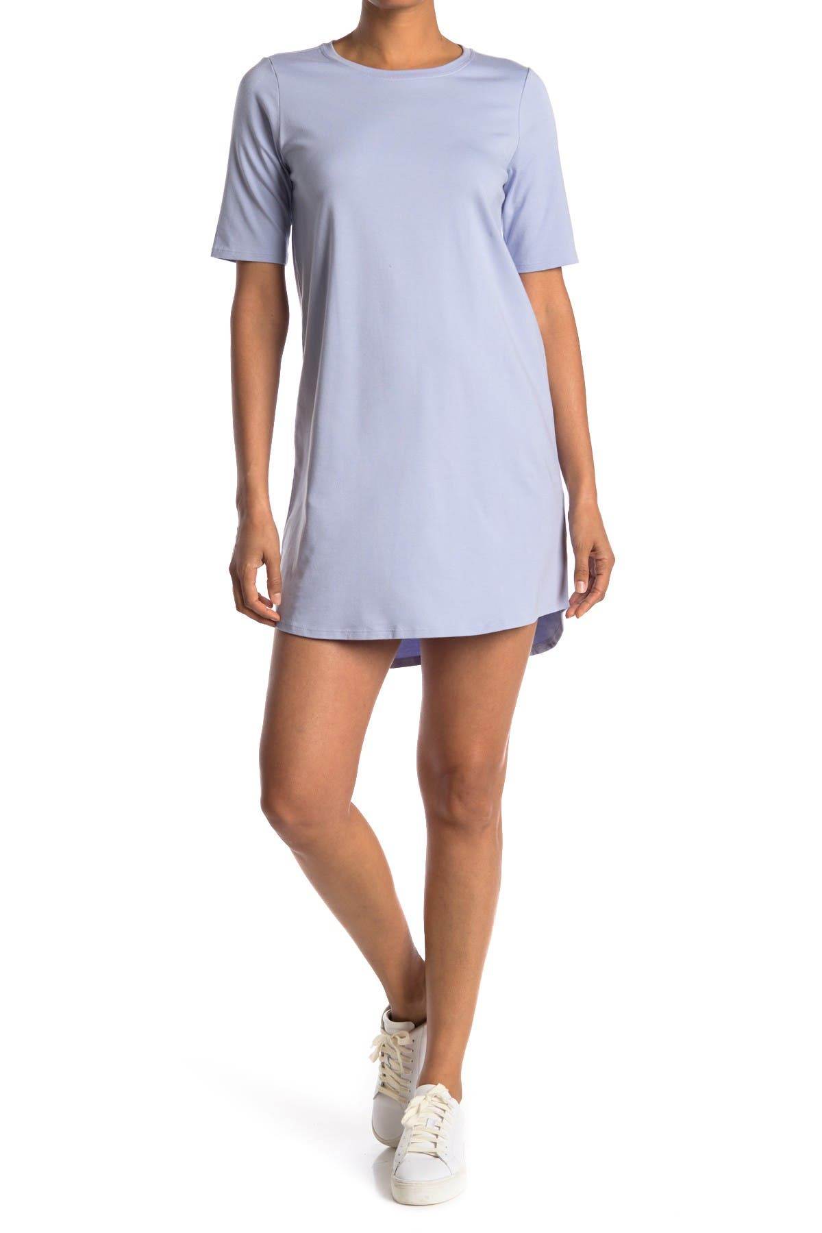 Image of Eileen Fisher Round Neck Elbow Sleeve Dress