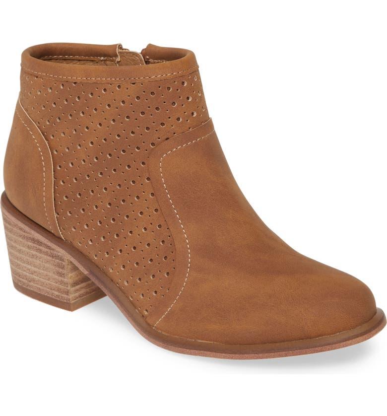 TREASURE & BOND Perforated Block Heel Bootie, Main, color, CHESTNUT FAUX NUBUCK