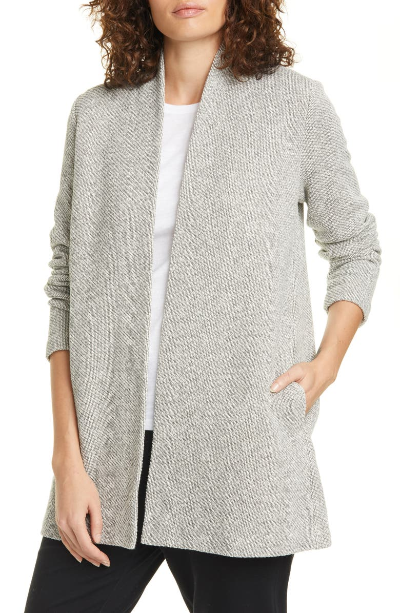 EILEEN FISHER Open Front Organic Cotton Cardigan, Main, color, ASH