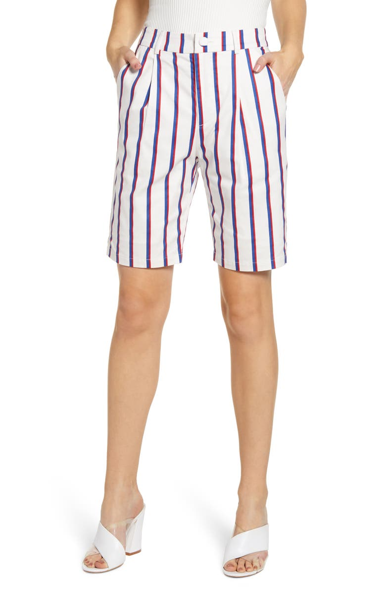 ENGLISH FACTORY Stripe Stretch Cotton Bermuda Shorts, Main, color, WHITE