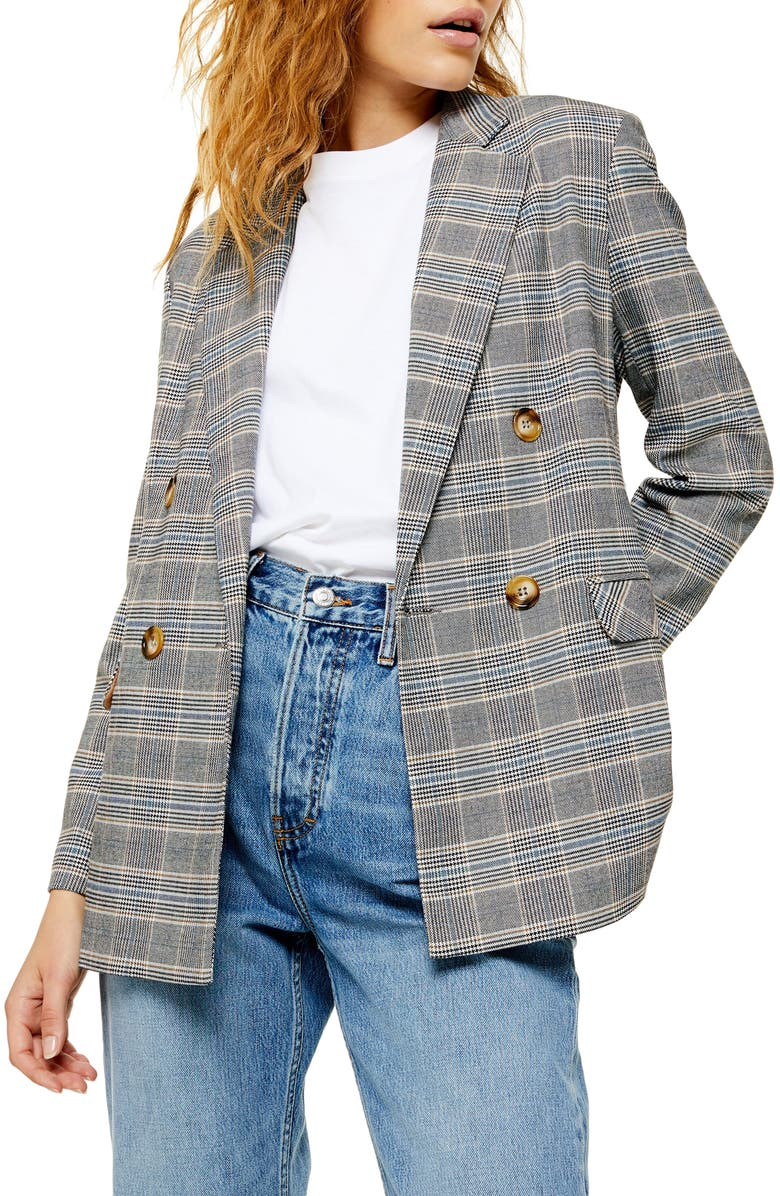 TOPSHOP Double Breasted Plaid Blazer, Main, color, GREY