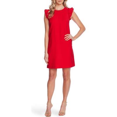 Cece Double Flutter Sleeve Shift Dress, Red