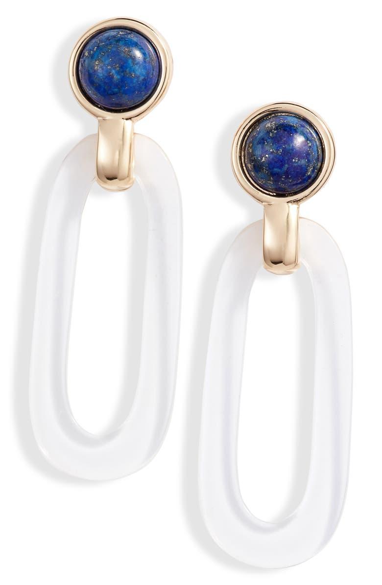 HALOGEN<SUP>®</SUP> Lapis & Oval Drop Earrings, Main, color, 420