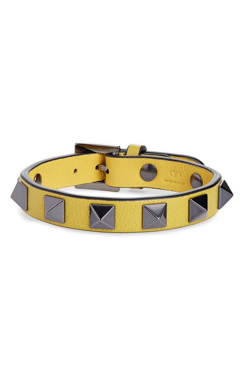 VALENTINO Rockstud Leather Bracelet, Main, color, GOLDFISH