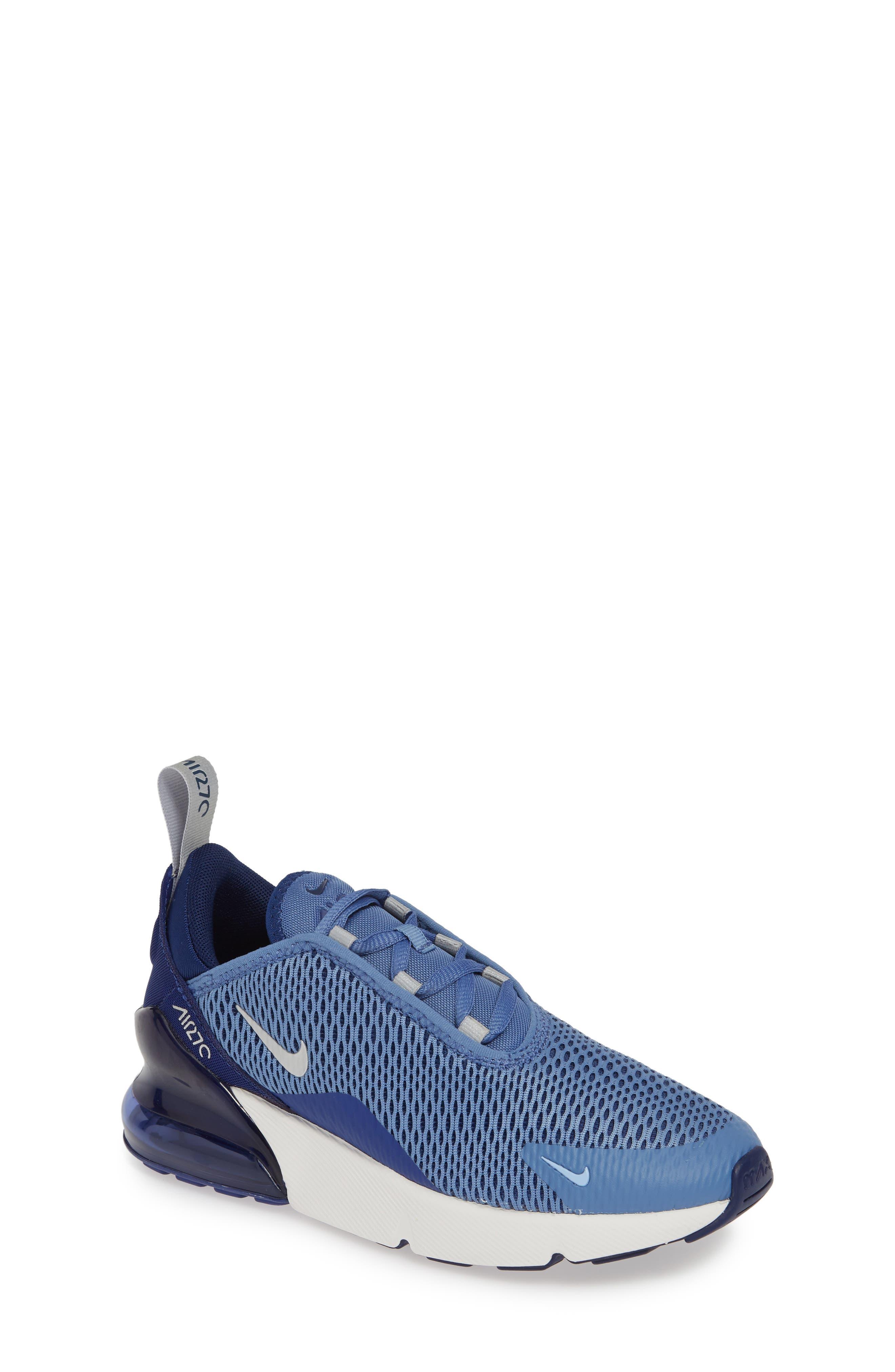 Air Max 270 Sneaker, Main, color, INDIGO STORM/ METALLIC SILVER