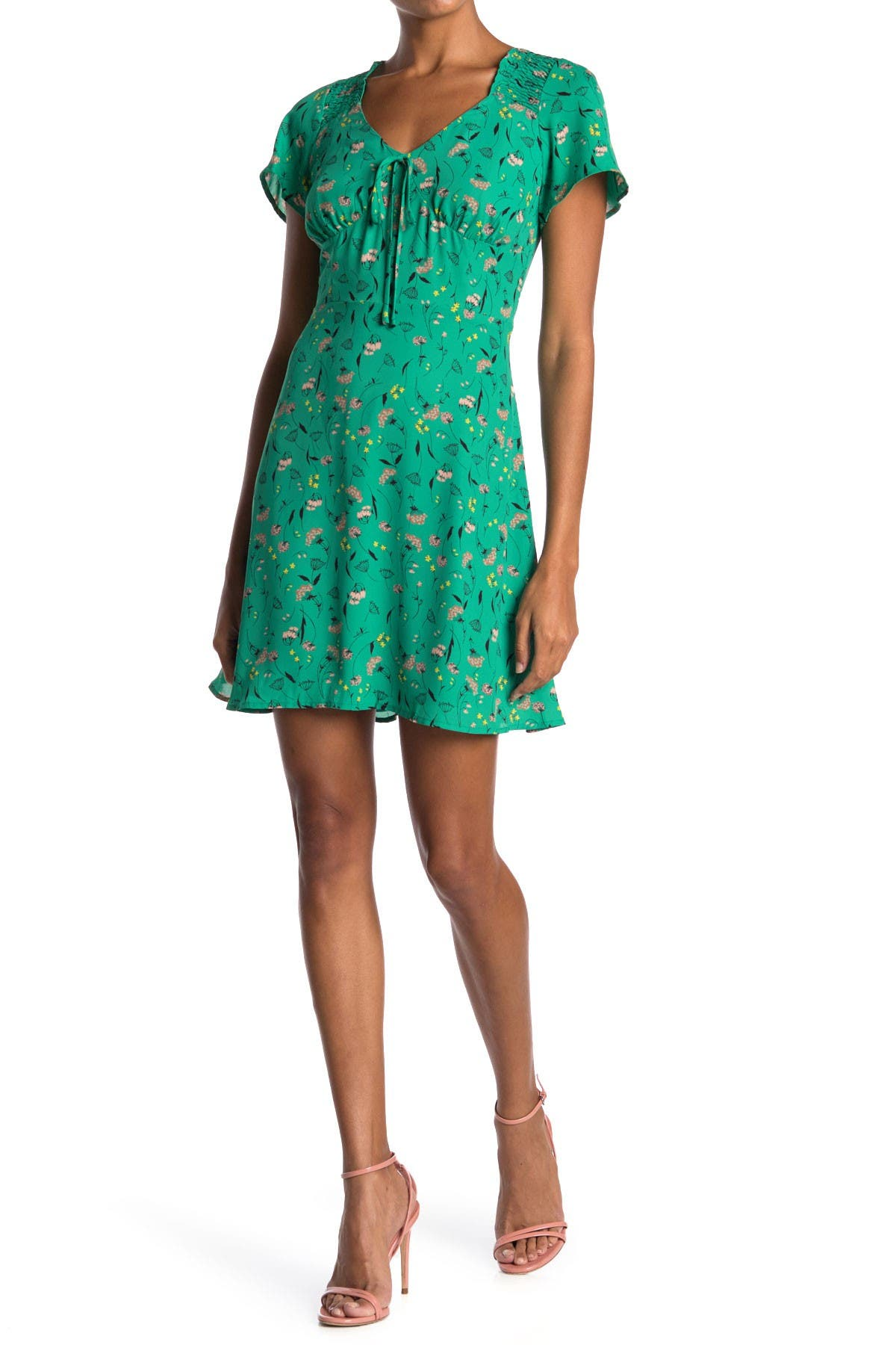 Image of Collective Concepts Tie Front Short Sleeve Dress