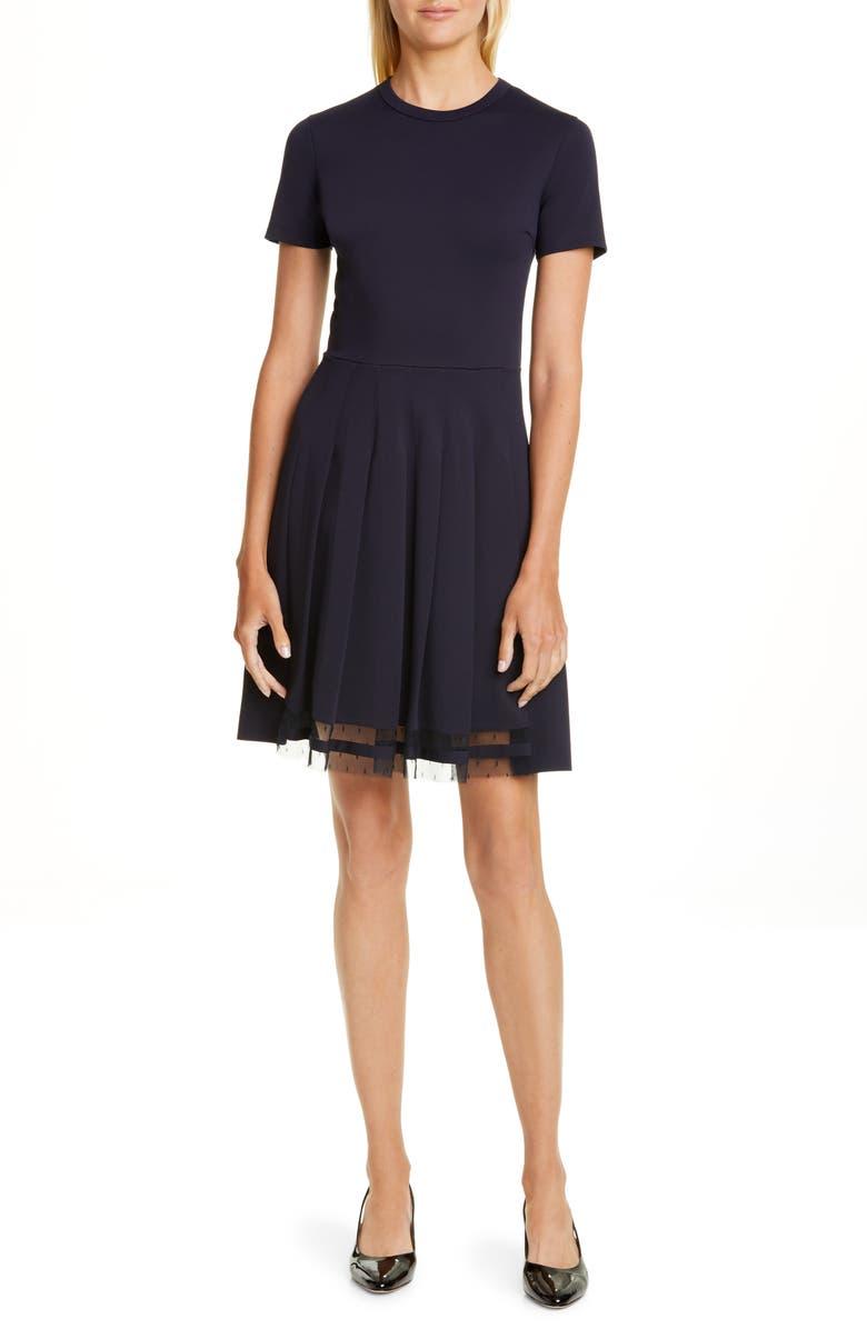 RED VALENTINO Point d'Esprit Trim Fit & Flare Dress, Main, color, BLUE