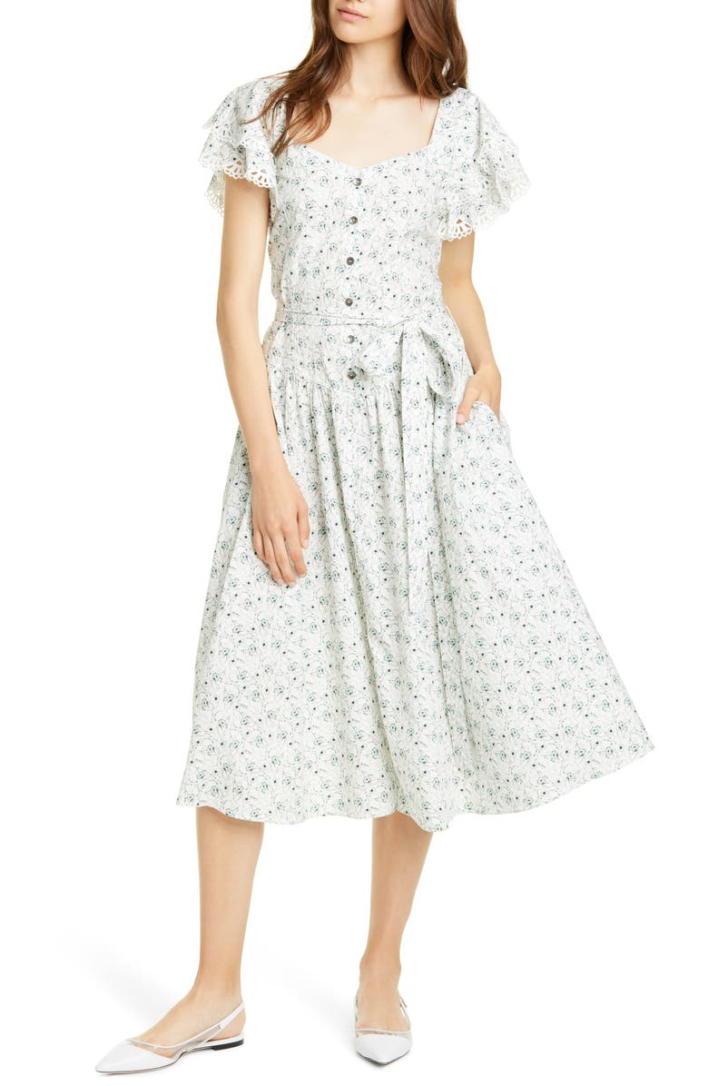 LA VIE REBECCA TAYLOR Poppy Fields Belted Dress, Main, color, MILK COMBO