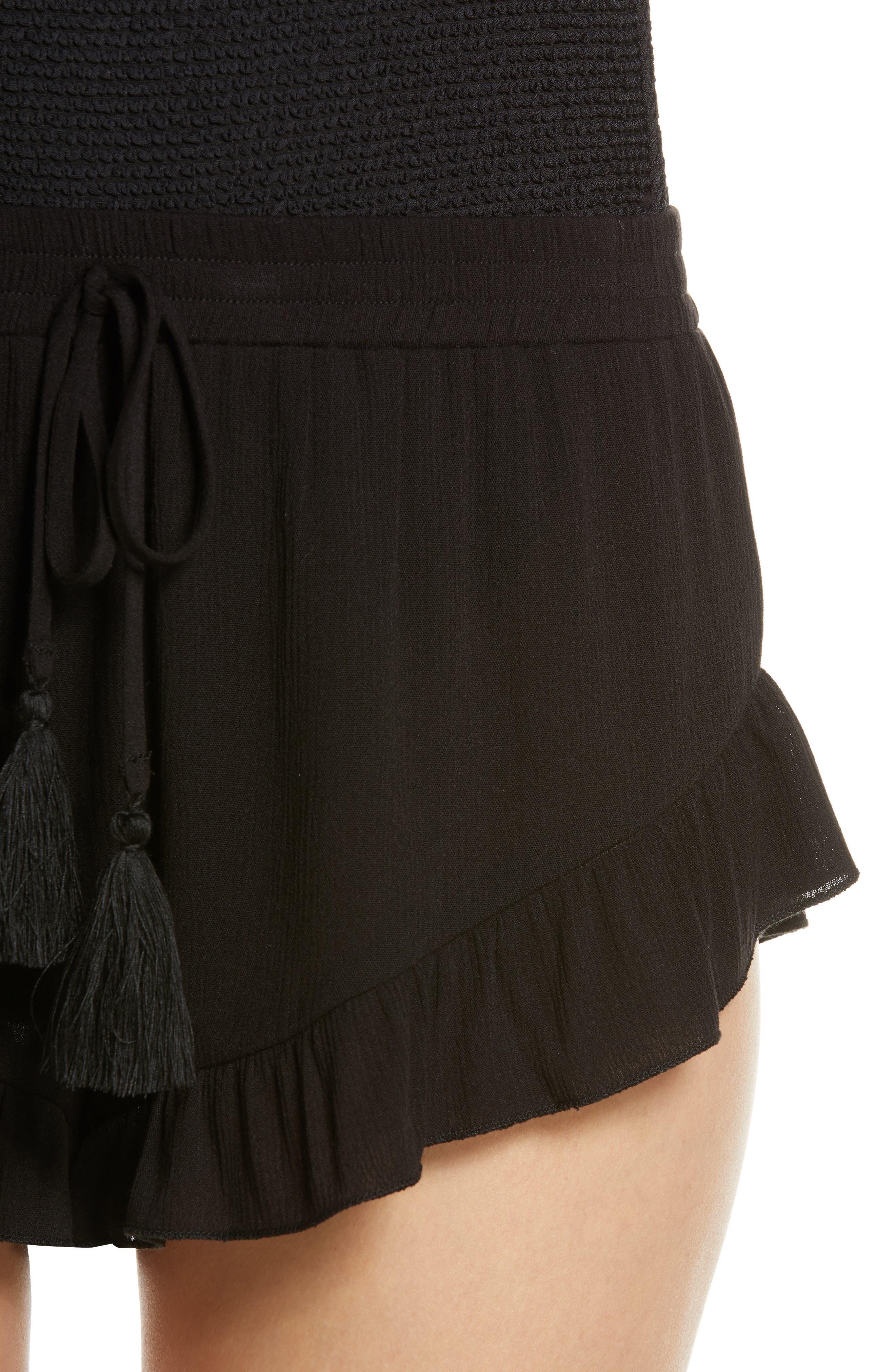 ,                             Flounce Cover-Up Shorts,                             Alternate thumbnail 5, color,                             BLACK