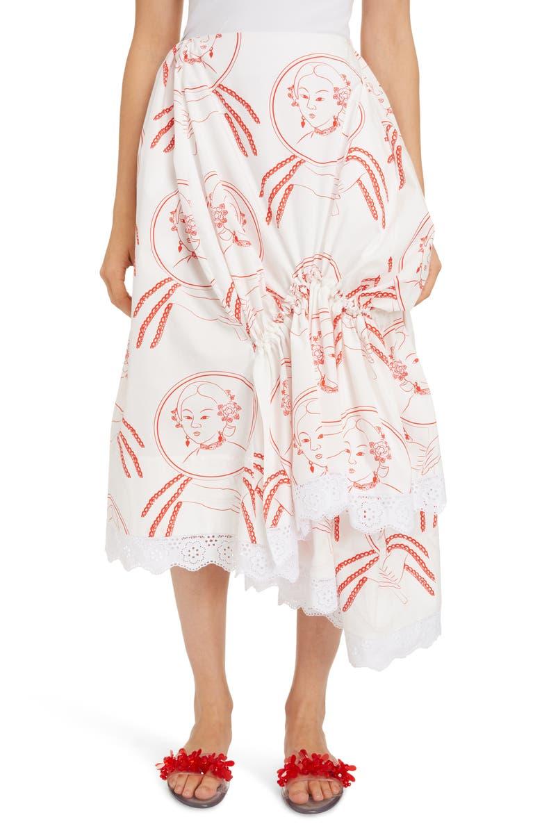 SIMONE ROCHA Asymmetrical Gathered Skirt, Main, color, 100