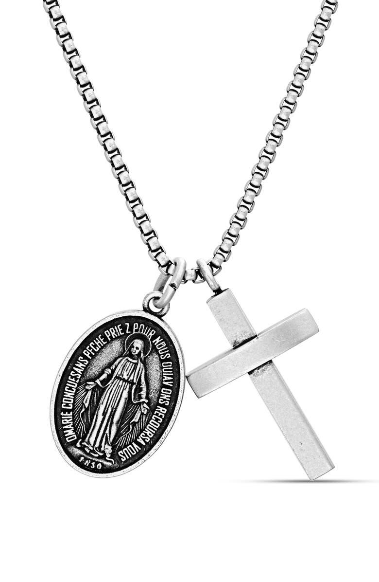 STEVE MADDEN Cross Medallion Pendant Necklace, Main, color, METALLIC SILVER