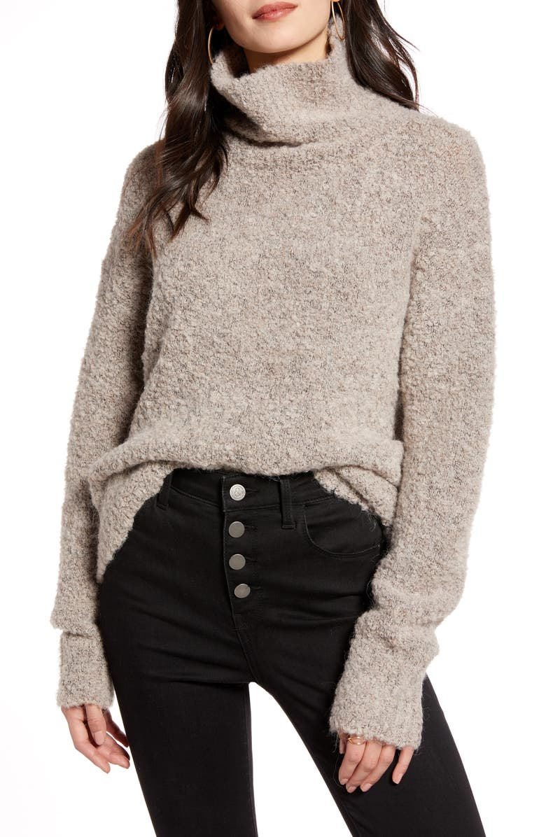 TREASURE & BOND Bouclé Funnel Neck Pullover, Main, color, GREY TAUPE