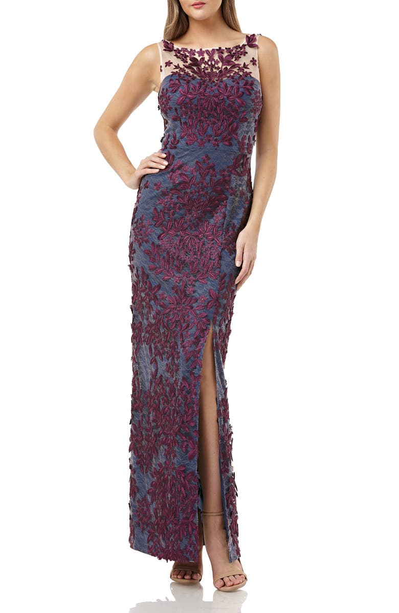JS COLLECTIONS Leaf Embroidered Gown, Main, color, PLUM NAVY