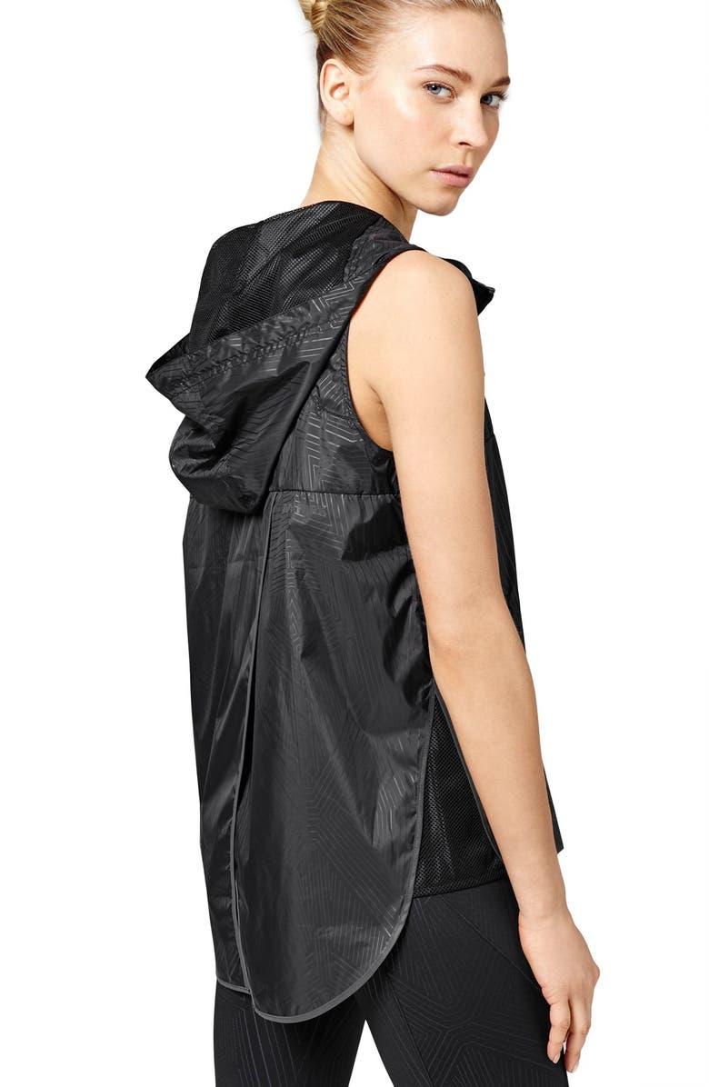 IVY PARK<SUP>®</SUP> Reflective Print Hooded Sleeveless Jacket, Main, color, 001