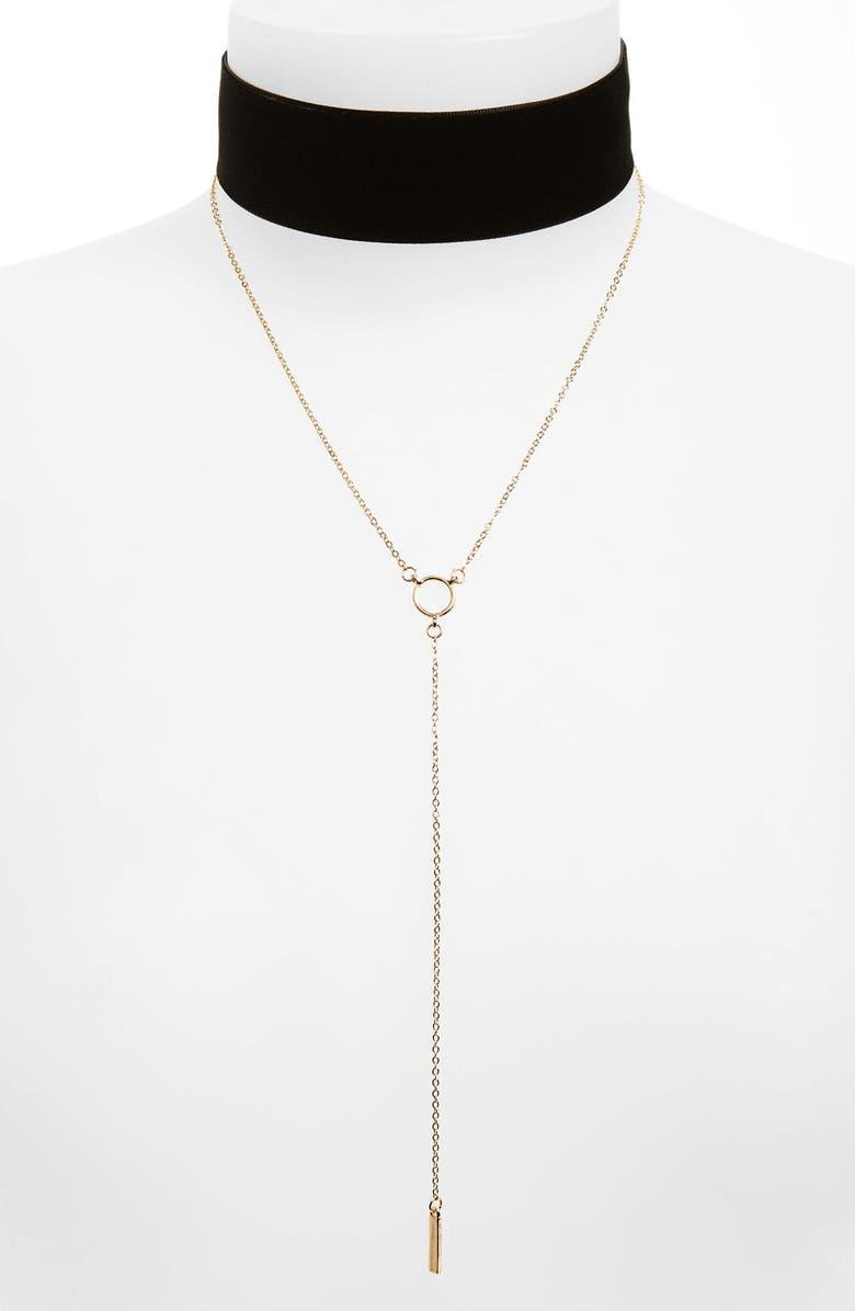 BP. Velvet Choker & Lariat Necklace, Main, color, 001