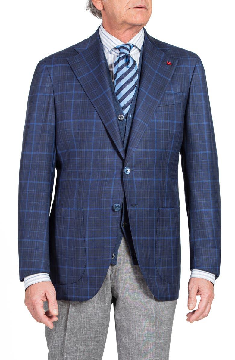 ISAIA Slim Fit Windowpane Check Wool Blazer, Main, color, 410