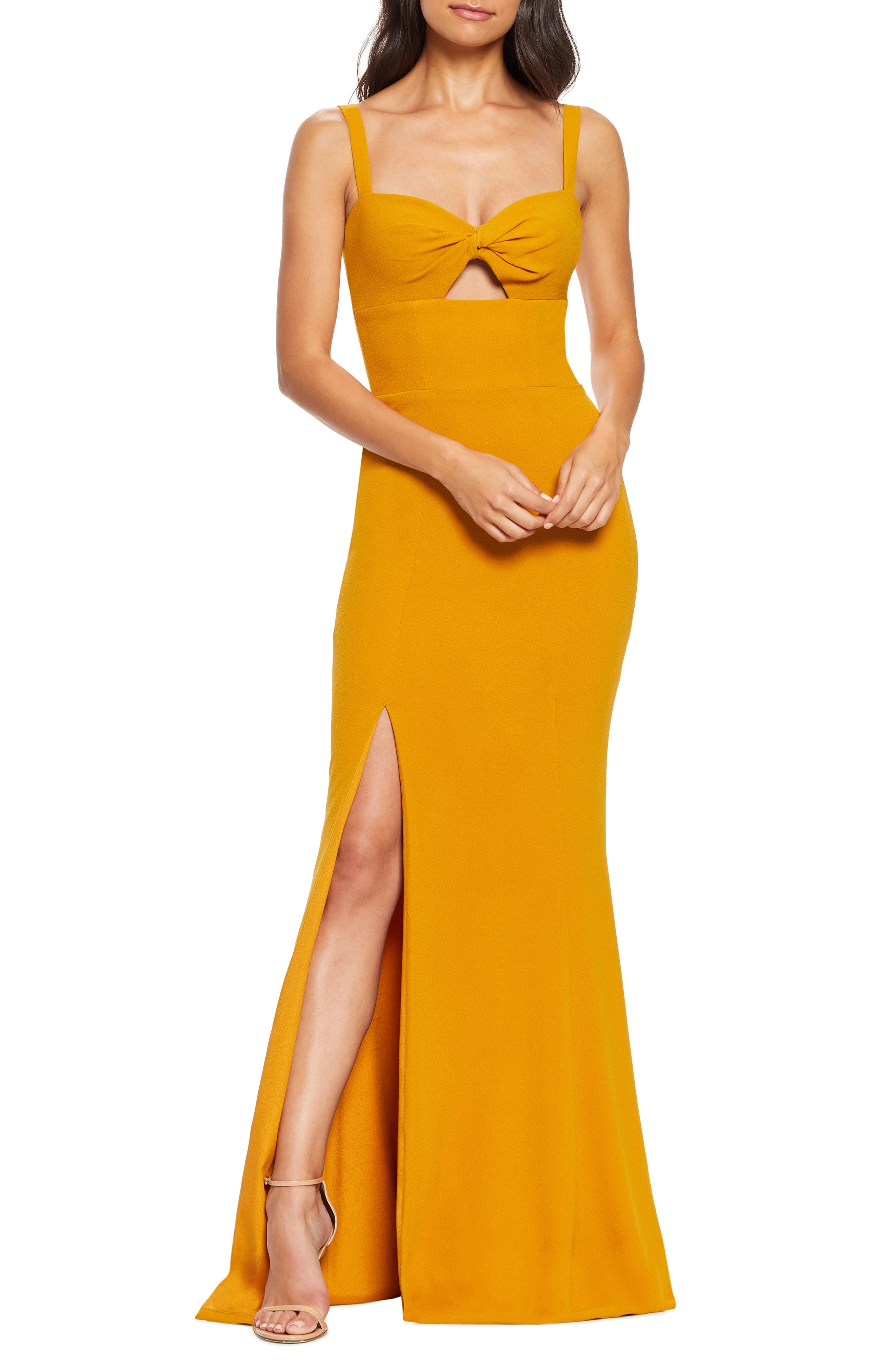 Dress The Population Brooke Twist Front Gown, Yellow