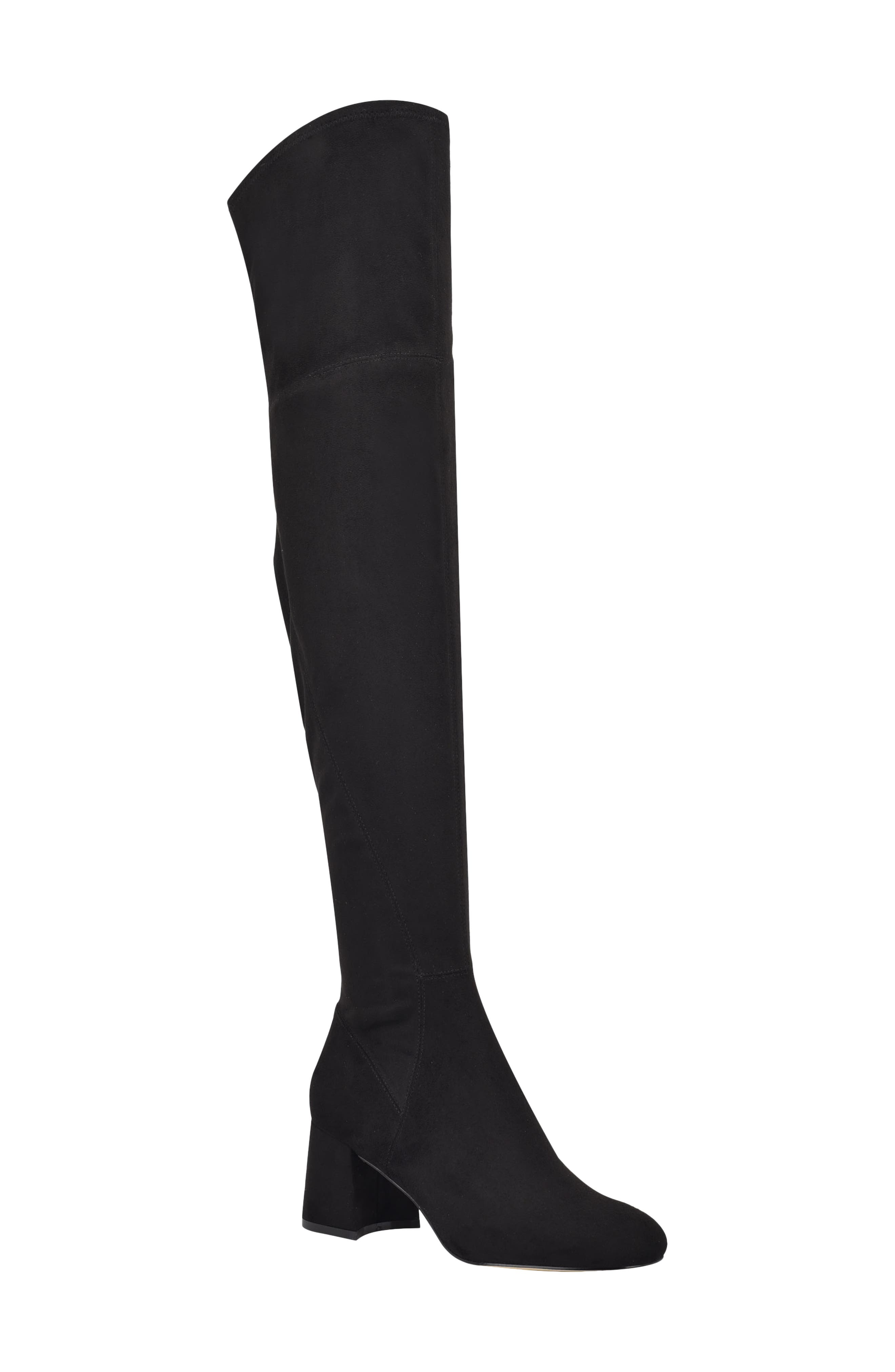 This chunky-heel boot in lustrous faux suede elongates your figure with its sleek over-the-knee shaft and rounded toe. Style Name: Marc Fisher Ltd Yahila Over The Knee Boot (Women). Style Number: 6095475. Available in stores.