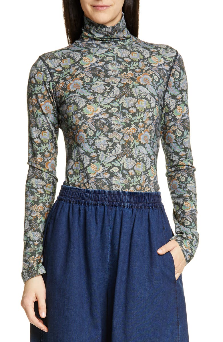 SEE BY CHLOÉ Floral Print Turtleneck Top, Main, color, MULTICOLOR GREEN