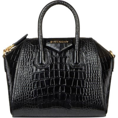 Givenchy Mini Antigona Croc Embossed Calfskin Leather Satchel - Black