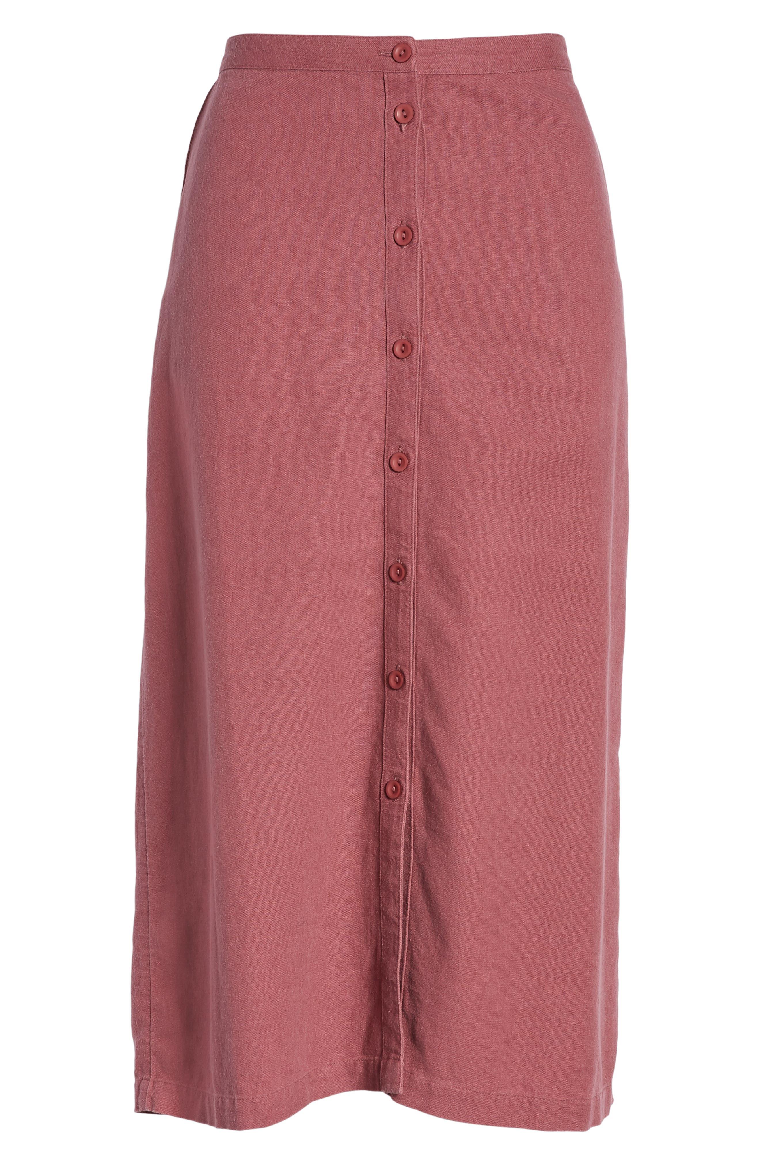 ,                             Button Front Linen Blend Midi Skirt,                             Alternate thumbnail 6, color,                             BURGUNDY CRUSH