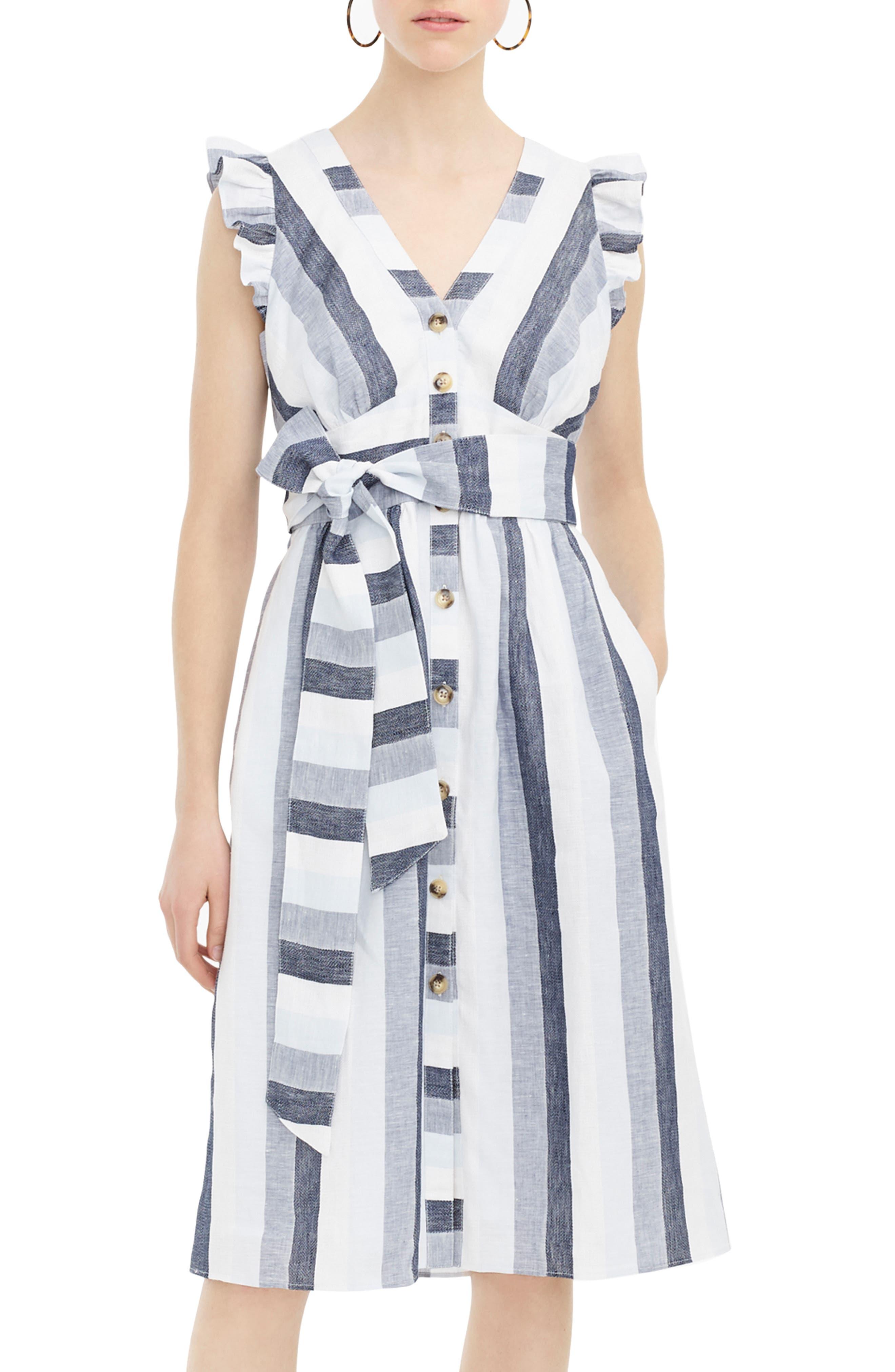 J.crew Indigo Stripe Button Front Linen Midi Dress, Beige