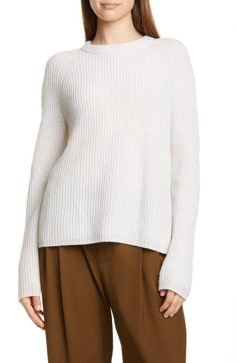 VINCE Shaker Stitch Cashmere Sweater, Main, color, HEATHER WHITE