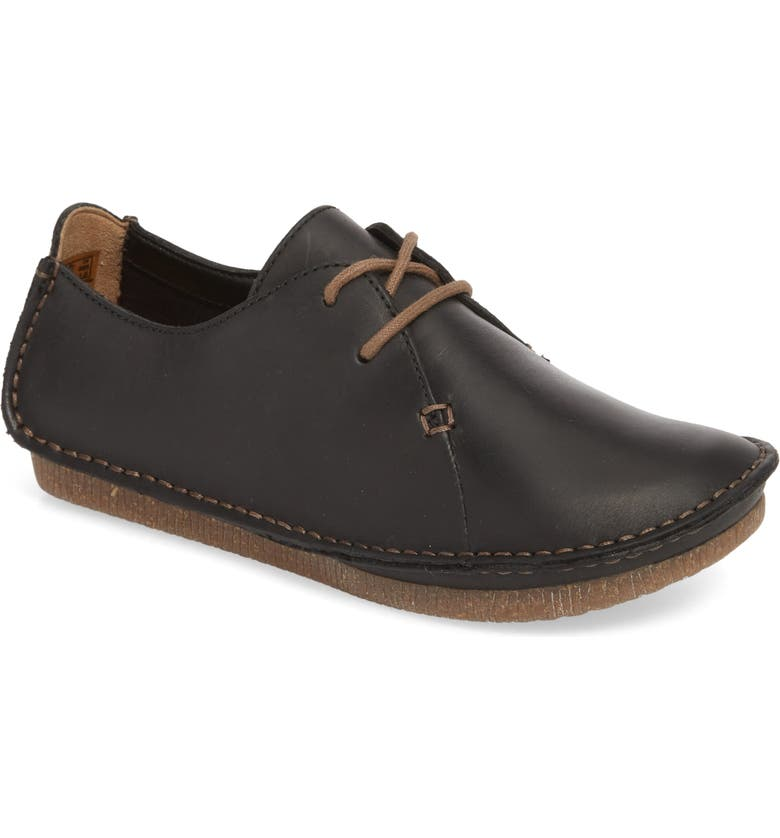 CLARKS<SUP>®</SUP> Janey Mae Derby Flat, Main, color, BLACK LEATHER