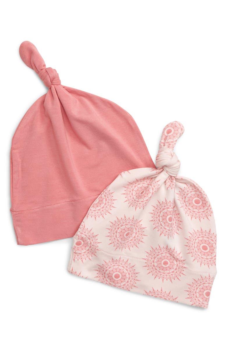 KICKEE PANTS Set of 2 Knot Hats, Main, color, MACAROON MANDALA/ DESERT ROSE