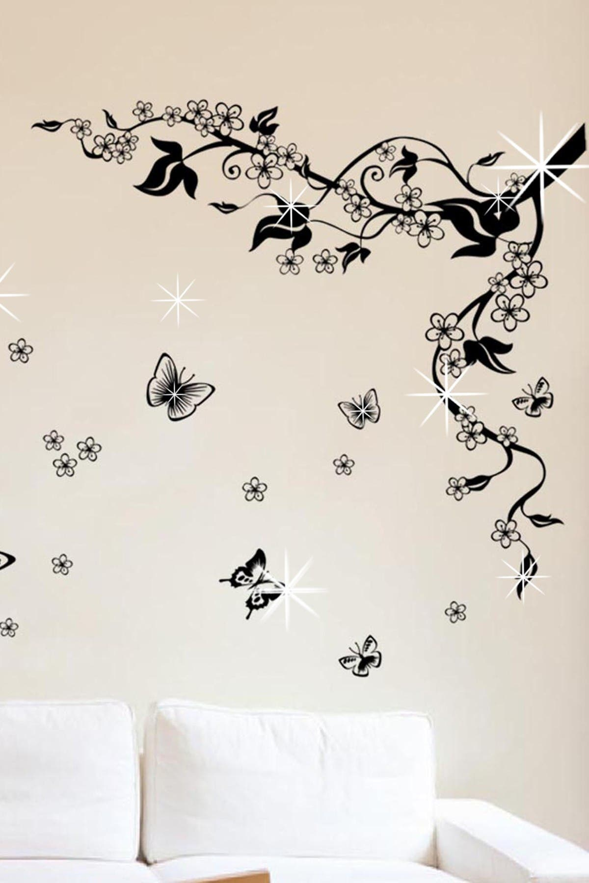 Image of WalPlus Swarovski Crystal Accent Butterfly Vine Decal