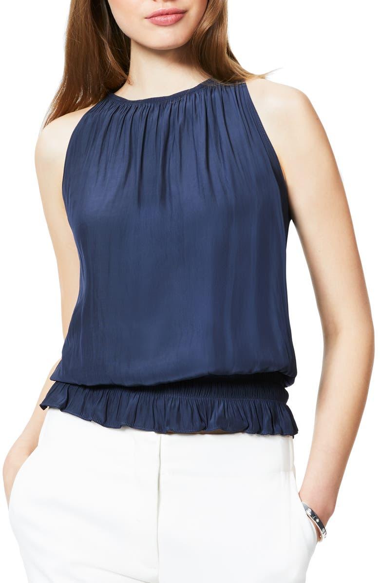 RAMY BROOK Lauren Smock Waist Sleeveless Top, Main, color, NAVY
