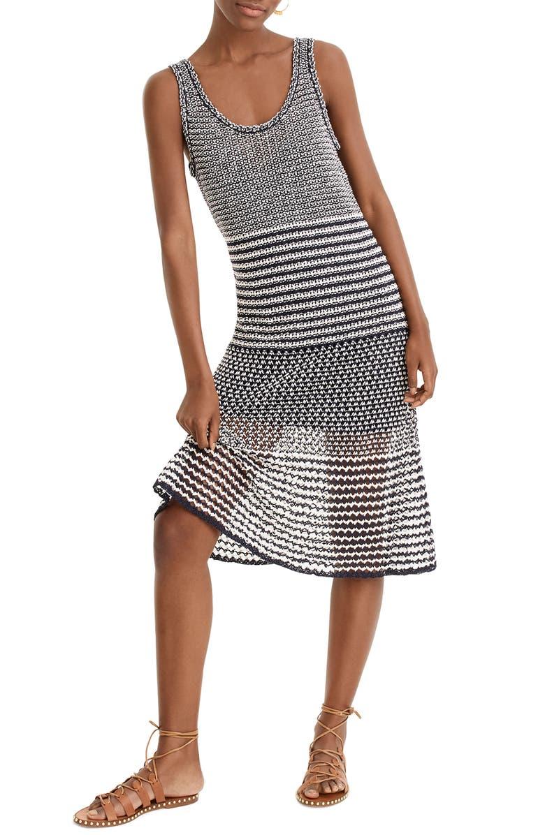 J.CREW A-Line Multi Stitch Knit Dress, Main, color, NAVY IVORY