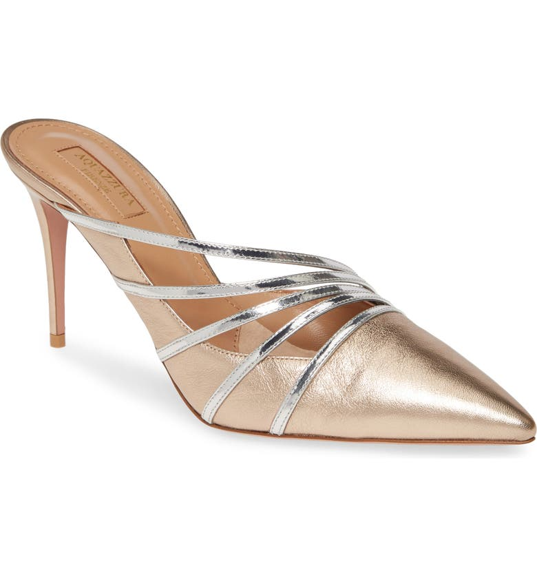 AQUAZZURA Aquazurra Minou Metallic Strappy Pointed Toe Mule, Main, color, LIGHT COPPER/ SILVER