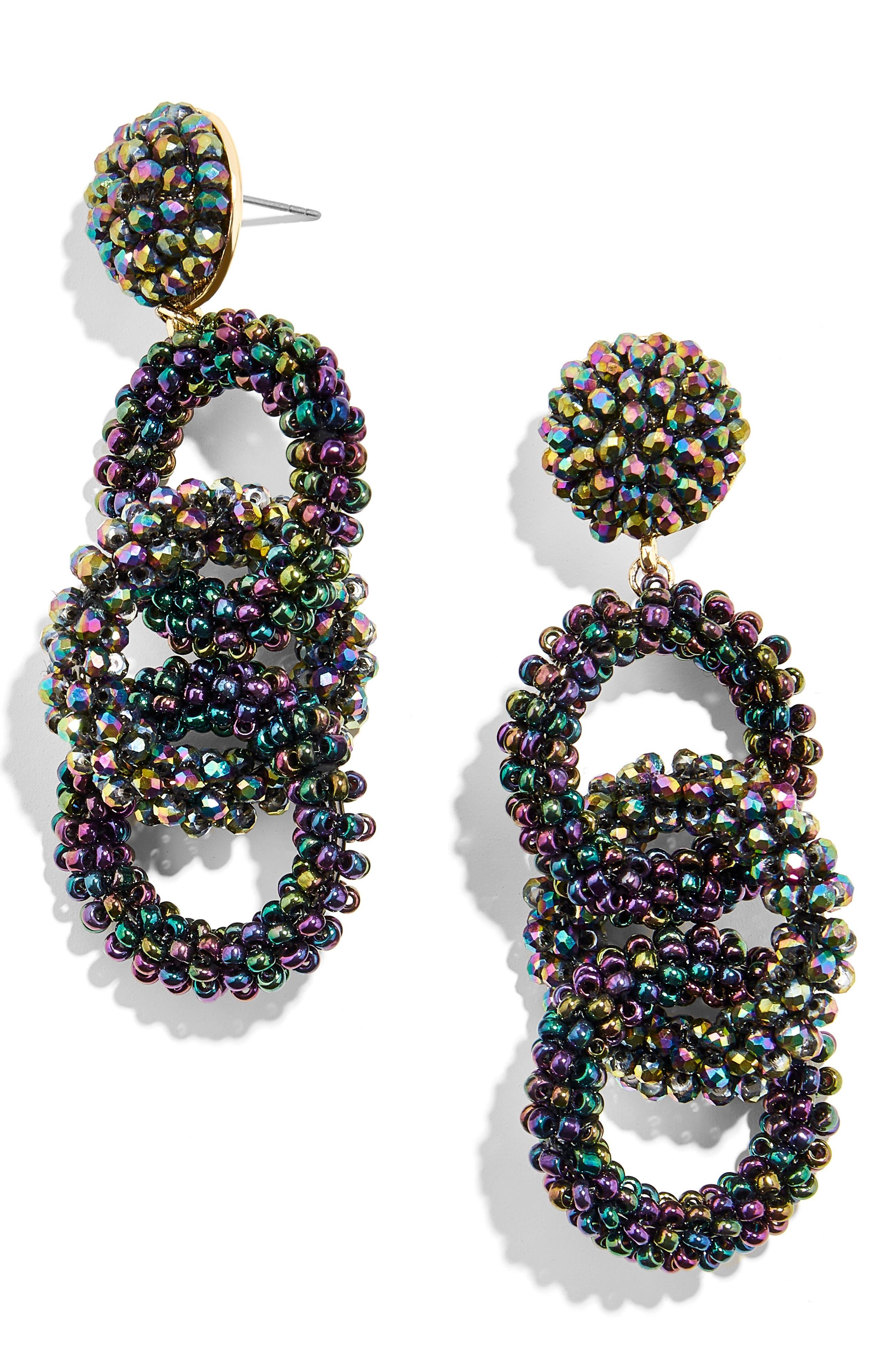 Caprica Link Beaded Drop Earrings, Main, color, 400