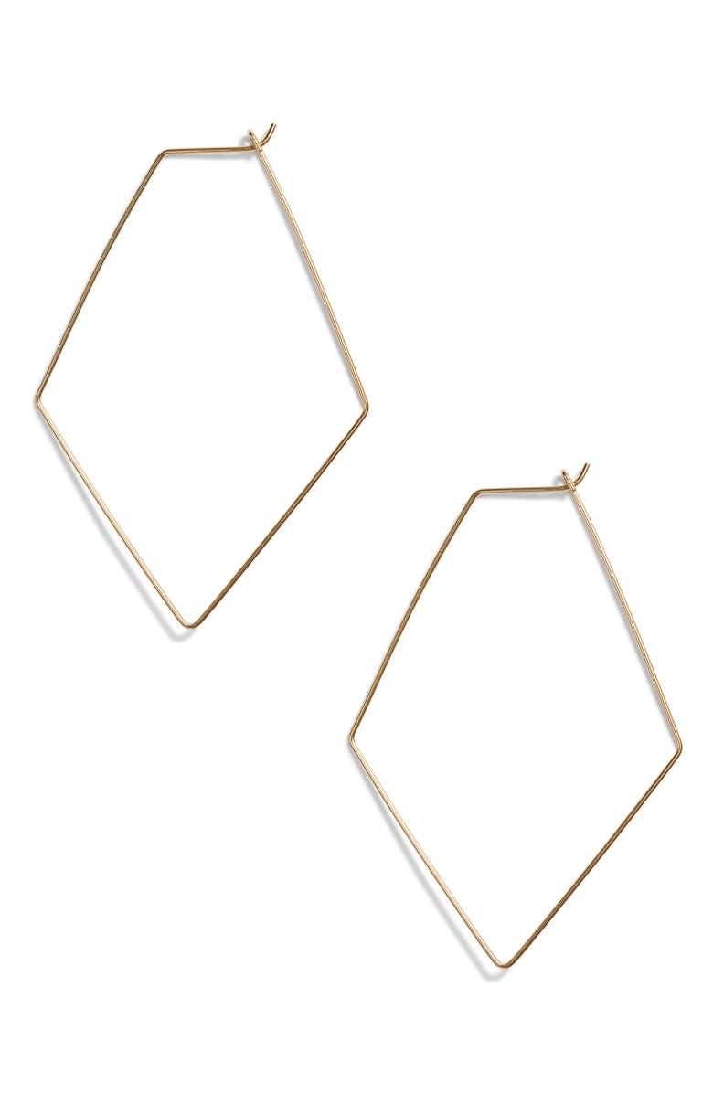 ARGENTO VIVO STERLING SILVER Argento Vivo Rhombus Hoop Earrings, Main, color, GOLD