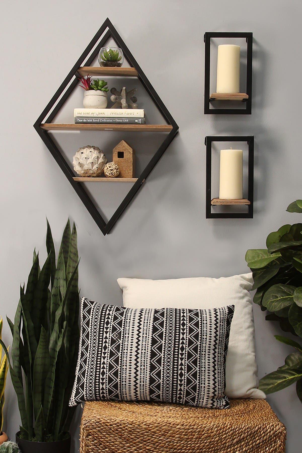 Stratton Home Natural Wood Black Diamond Shelf Wall Decor Nordstrom Rack