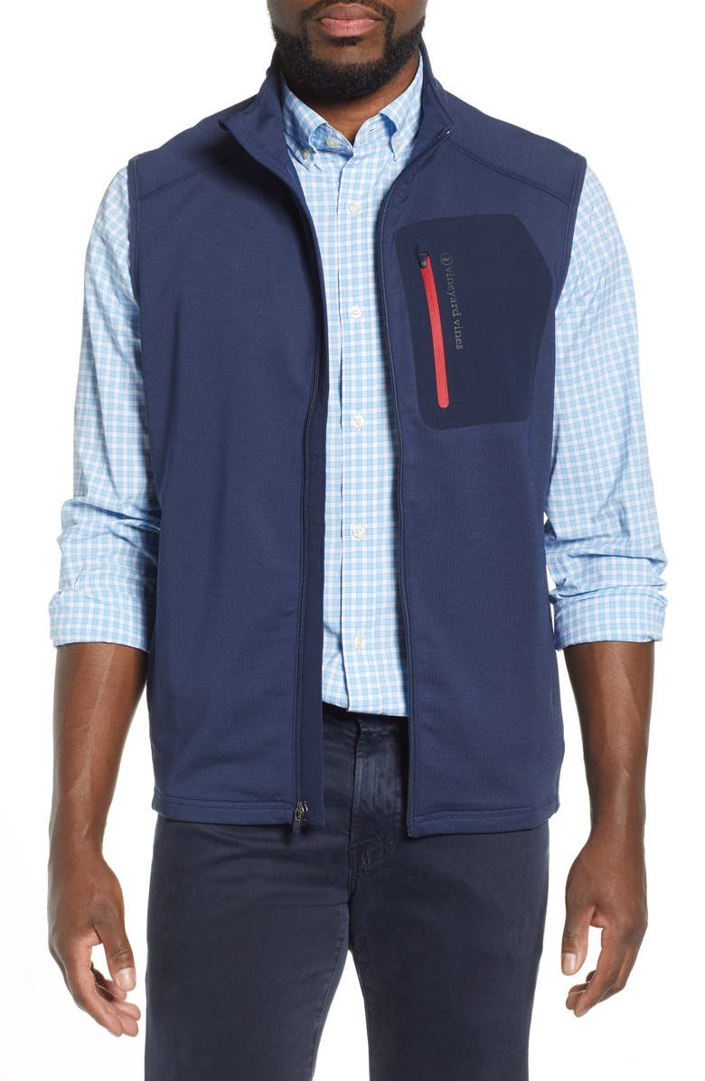 VINEYARD VINES Walker Zip Vest, Main, color, DEEP BAY
