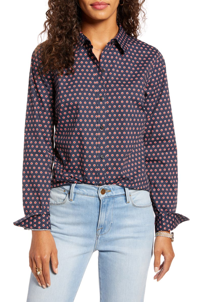 1901 Print Shirt, Main, color, NAVY- RED B MICRO DOT