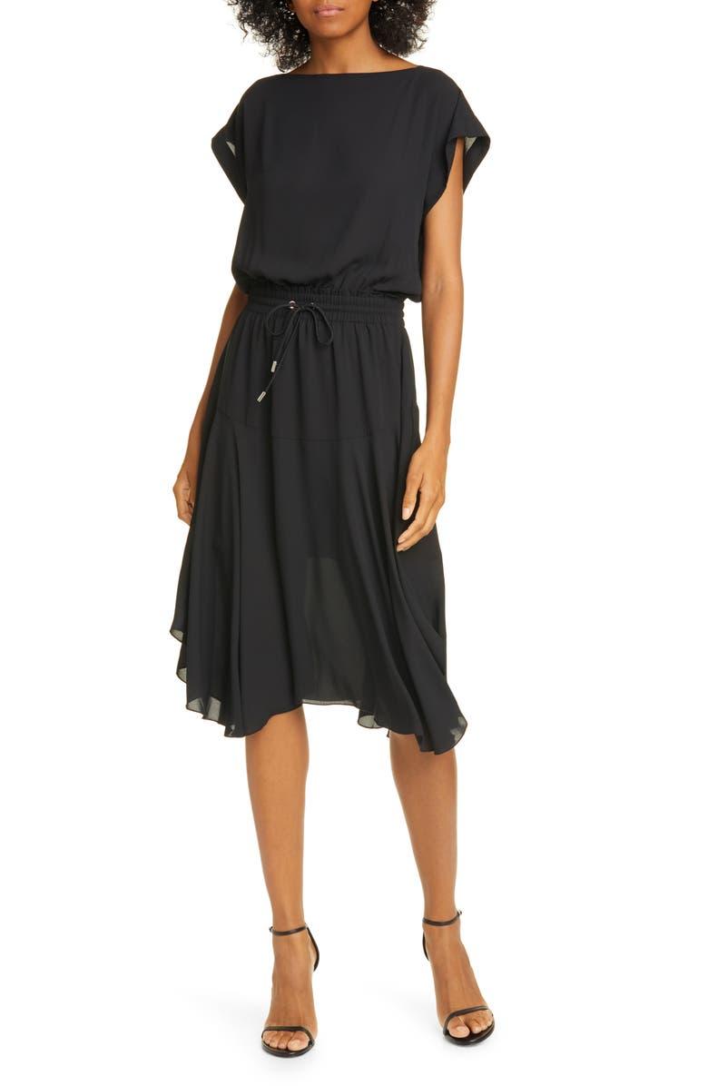 ATM ANTHONY THOMAS MELILLO Drawstring Waist Dress, Main, color, BLACK