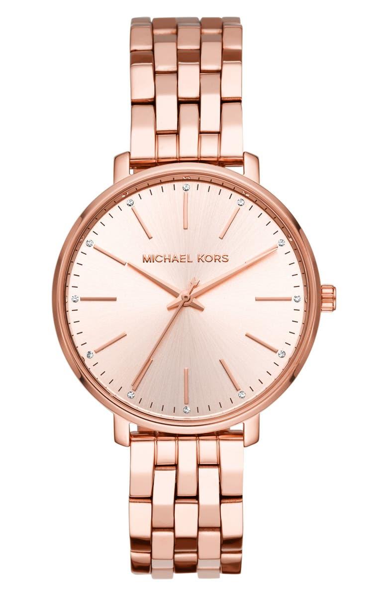 MICHAEL KORS Pyper Bracelet Watch, 38mm, Main, color, ROSE GOLD